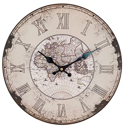 Buy swagger 14x14 inches distressed european finish world map swagger 14x14 inches distressed european finish world map printed wooden vintage wall clock gumiabroncs Images