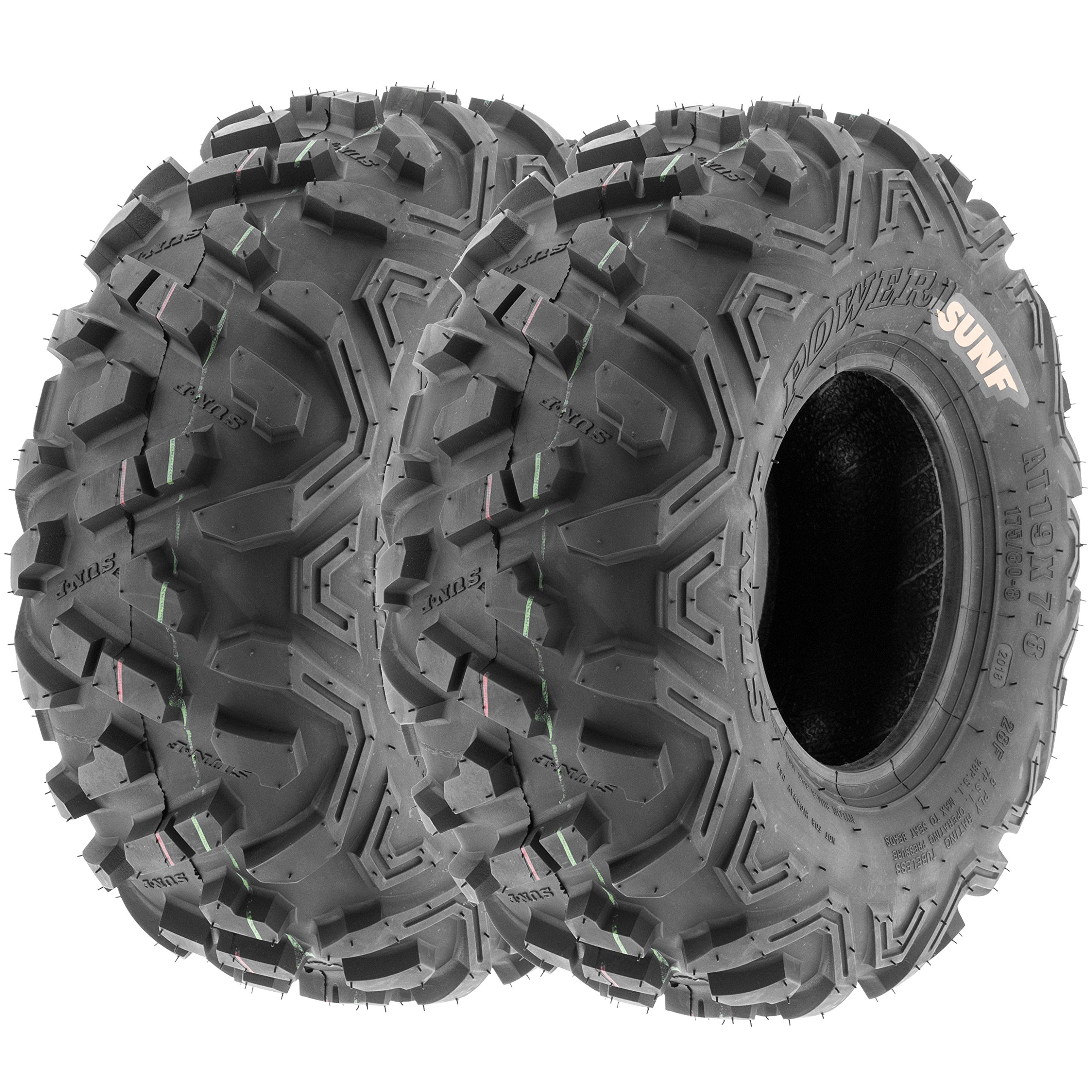 Pair of 2 SunF Power.II AT 16x8-7 ATV & Go-Kart Off-Road Tires, All-Terrain, 6 PR, Tubeless A051