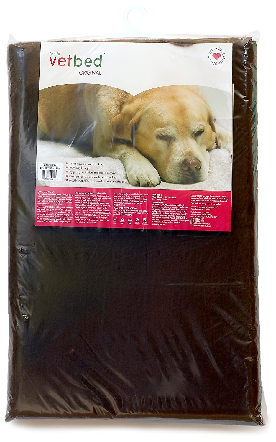 Vetbed Petlife Original - Cama para perro/gato, 101,6 x 76,2 cm, color marrón: Amazon.es: Productos para mascotas
