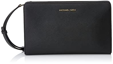 318f444540f427 Michael Kors Women's Jet Set Travel Lg Crossbody Clutch bag Black ...