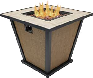 Sunnydaze Reykir Outdoor Fire Pit with Tile Tabletop and Rafa Fabric Sides - Modern Smokeless Square Outdoor Fire Pit Table - Ideal for The Patio, Deck or Backyard - 24 Inches Tall