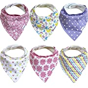 Baby Bandana Bibs for Girls - 6 Pack Baby Drool Bib Gift Set, Organic Cotton, 3 Snaps to Fit All Neck Sizes, Soft, Extra Absorbent, Easy to Clean, Perfect Baby Shower Gift Set