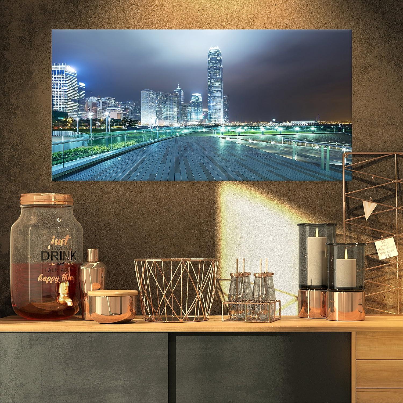 Designart PT14874-401 Night Pathway in Modern City Large Cityscape Art Print on Canvas,60x28
