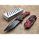 TAC Force Assisted Opening Spider WEB Design Handle Rescue Tactical Black Stainless Steel Blade for Hunting Camping Outdoor - Black/red