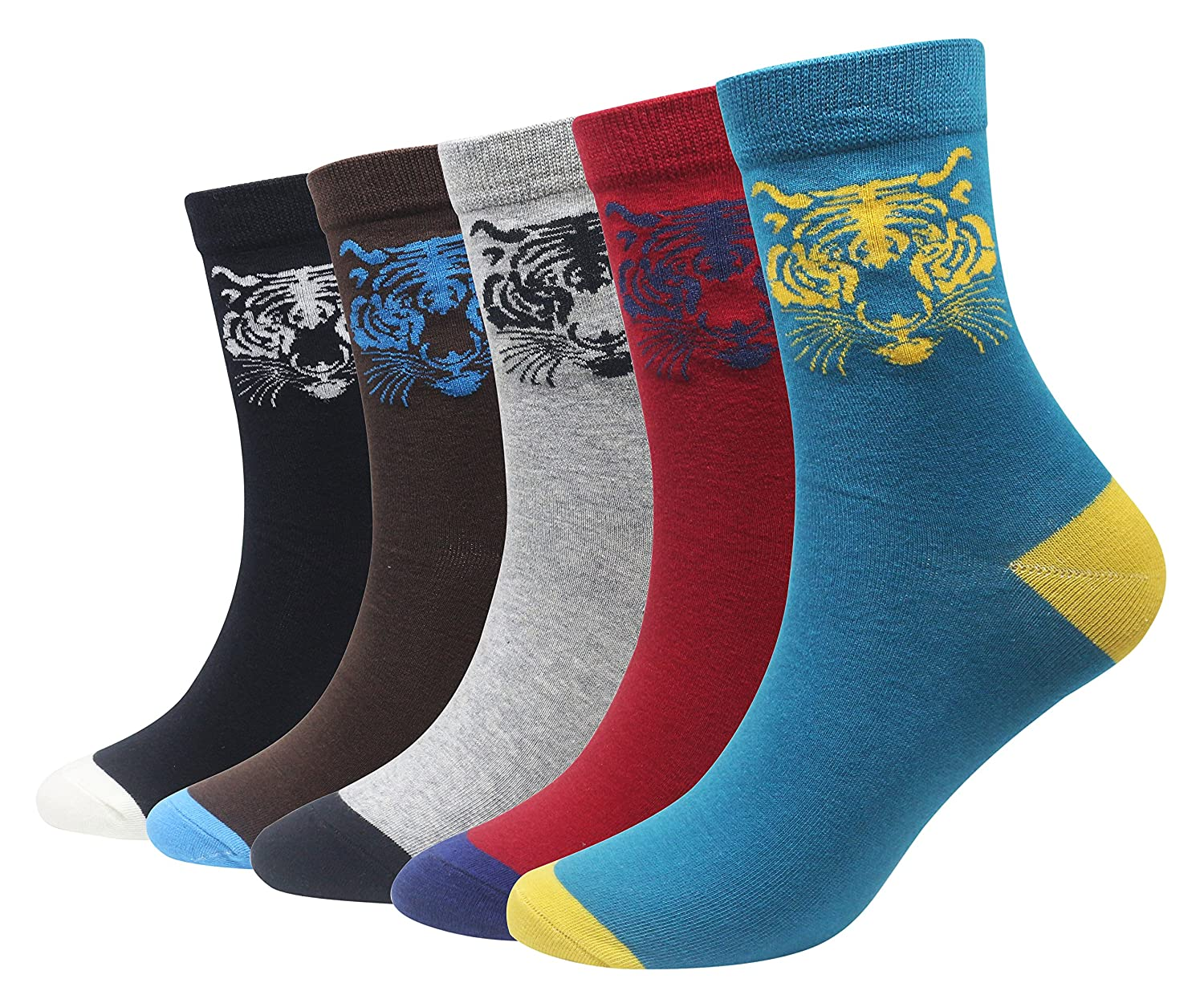 Wish Island Men's 5 Packs Fun Crazy Animal Cotton Casual Crew Socks R2-UPL2-QQ6W