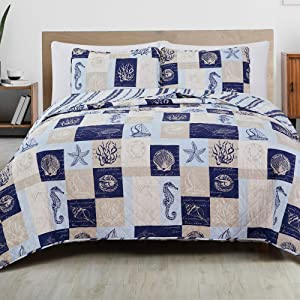Great Bay Home 3-Piece Reversible Quilt Set with Shams. All-Season Coastal Beach Theme Bedspread Coverlet. Caspian Collection (Full/Queen, Navy/Taupe)