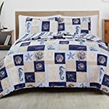 Great Bay Home 3-Piece Reversible Quilt Set with Shams. All-Season Coastal Beach Theme Bedspread Coverlet. Caspian…