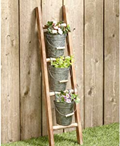 Farmhouse Decor Galvanized Metal Bucket/Plant Pots with Wall Ladder | Galvanized Decor | 3 Galvanized Bucket Hanging Basket Included | Wooden Plant Hangers Ladder Included. | Galvanized Wall Deco