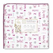 SwaddleDesigns Ultimate Swaddle Blanket, Made in USA Premium Cotton Flannel, Disney It's a Small World - Hello!, Very Berry (Mom's Choice Award Winner)
