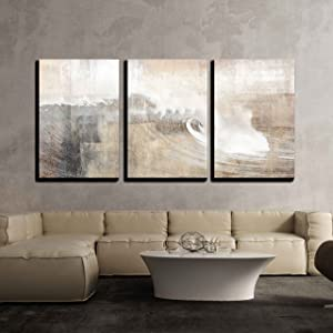 wall26 - Abstract Huge Wave Composition - Canvas Art Wall Decor-24 x36 x3 Panels
