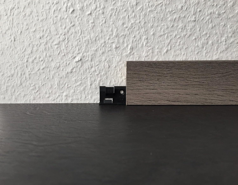 Au/ßenecken /& Endkappen von Joka f/ür Sockelleisten Fu/ßbodenleisten auf verschiedenen B/öden Befestigungsclip, Schwarz Farben wei/ß oder Edelstahl-look Innenecken