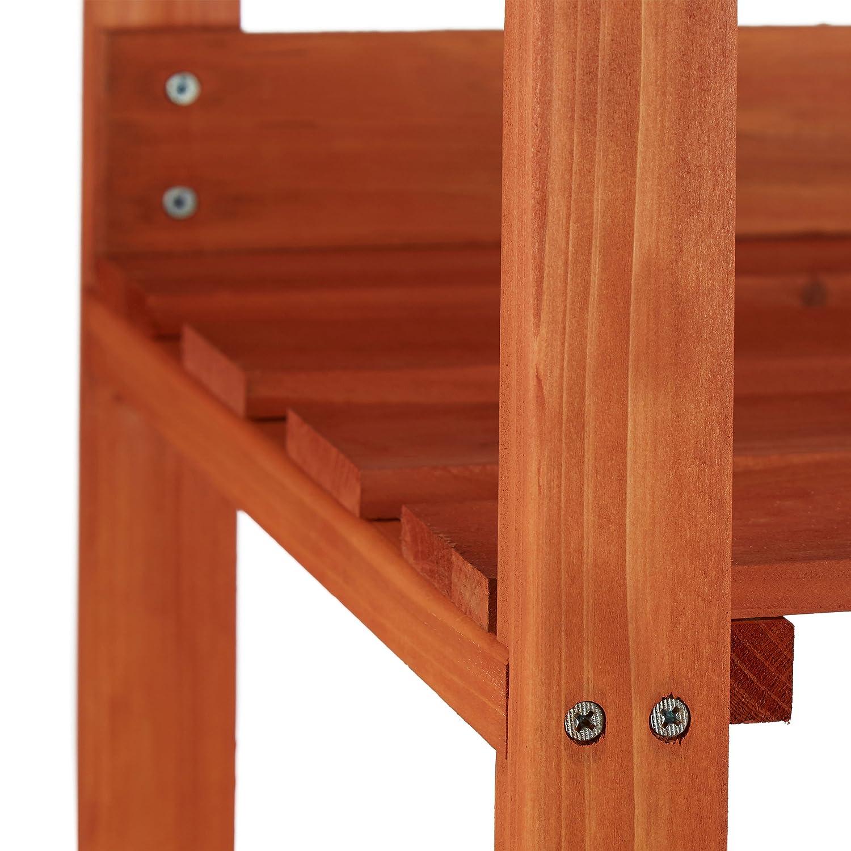 Relaxdays Table de préparation pour semis en bois avec plan de ...