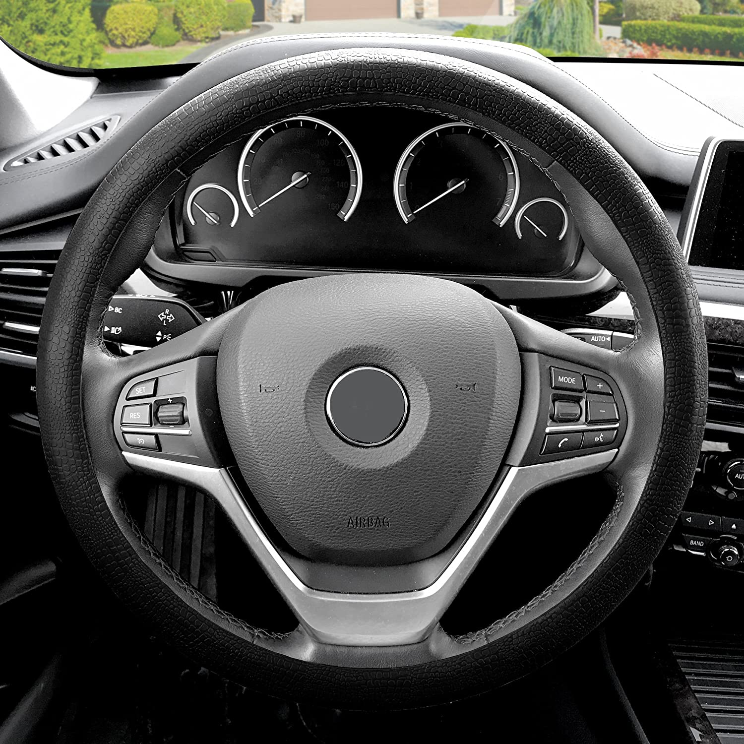 FH Group FH3001BLACK Black Steering Wheel Cover (Silicone Snake Pattern Massaging grip in Color-Fit Most Car Truck Suv or Van)