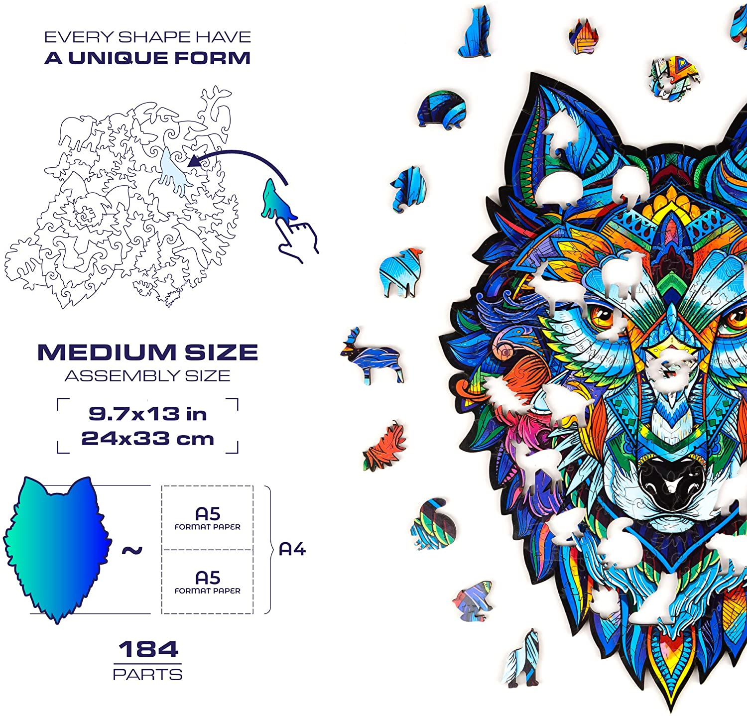 9.7 x 13 inches Unidragon Wooden Puzzle Jigsaw Best Gift for Adults and Kids Unique Shape Jigsaw Pieces Majestic Wolf Medium 184 pieces
