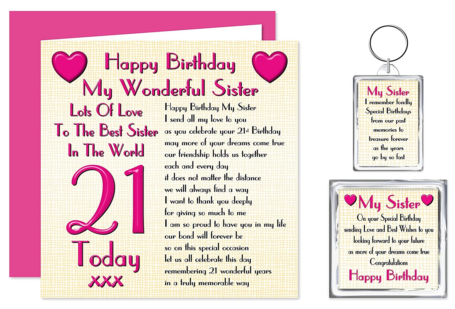 Sister 21st Happy Birthday Gift Set - Card, Keyring & Fridge Magnet Present  - Lots Of Love To The Best Sister In The World - 21 Today