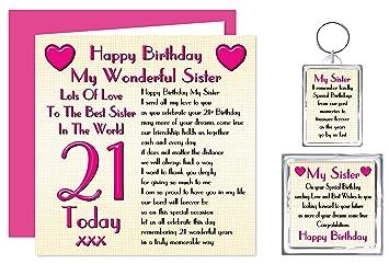 Sister 21st Happy Birthday Gift Set