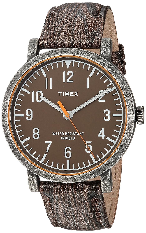 Timex Unisex TWH3Z1910 Originals Oversized Wood Grain Antique Brass Leather Strap Watch