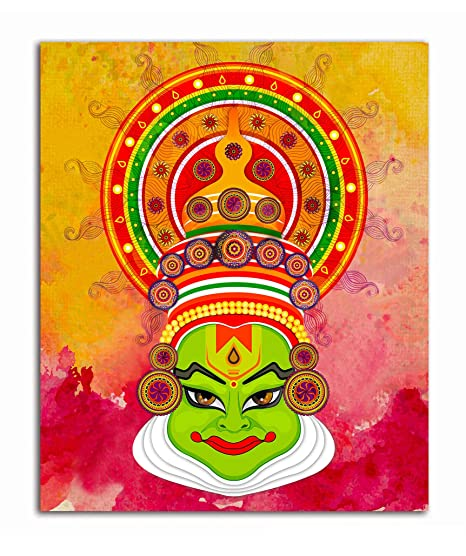 Tamatina Canvas Paintings Face Of Kathakali Tribal Art Paintings For Home Decor Paintings For Drawing Room Wall Paintings For Bedroom Paintings For Living Room Wall