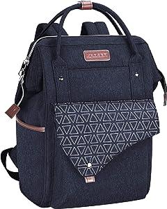 KROSER Laptop Backpack 15.6 Inch Stylish School Computer Backpack with USB Charging Port Water-repellent College Daypack Travel Business Work Bag for Women/Men-Dark Blue