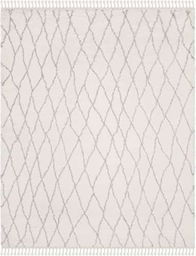 Safavieh Casablanca Shag Collection CSB145A Ivory and Grey Tassel Area Rug 8' x 10'
