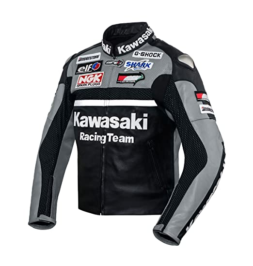 Kawasaki Gray Racing Team Leather Jacket (without a hump) ((L (EU52-54)))