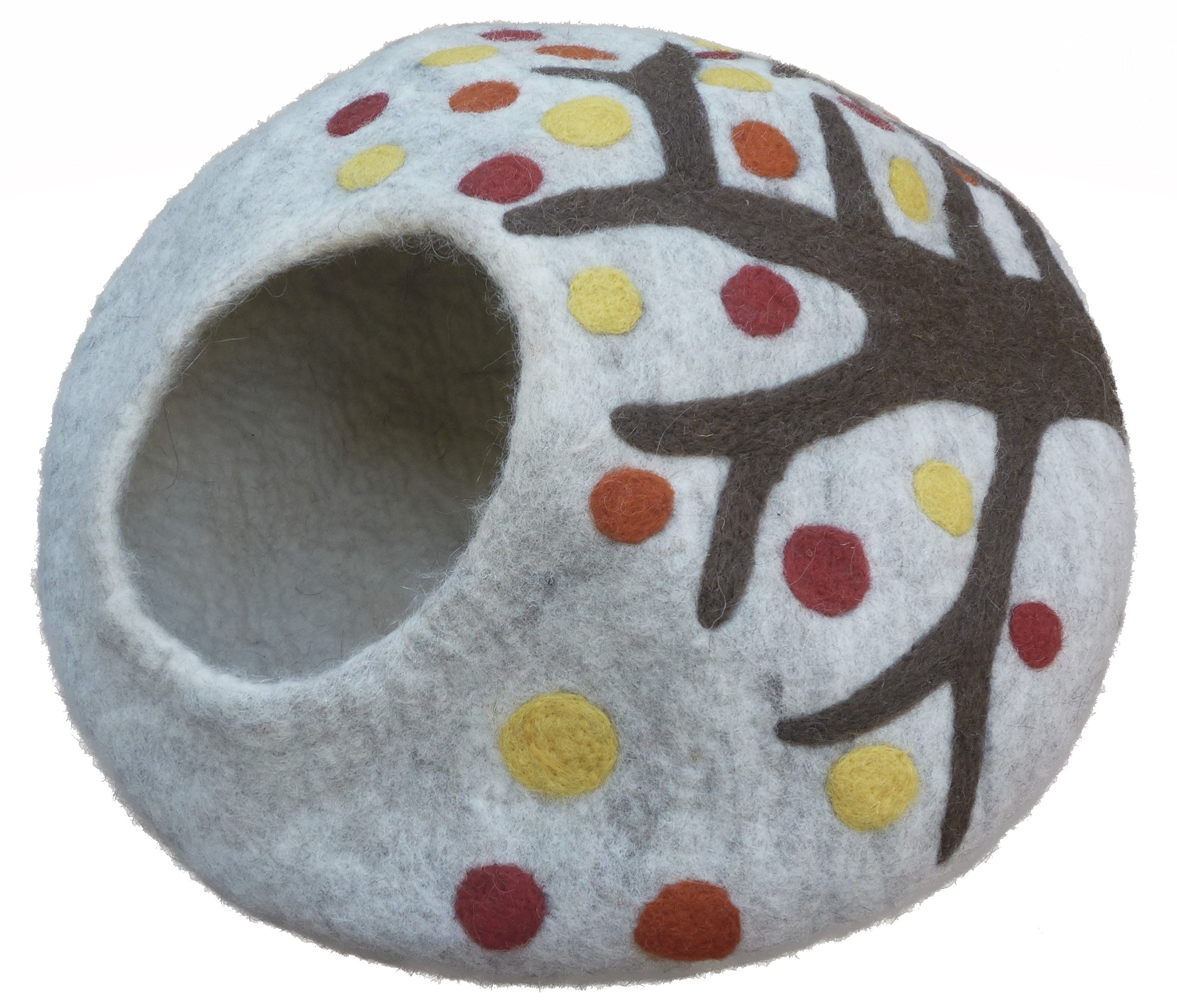 Earthtone Solutions Cat Cave Bed, Unique Handmade Felted Merino Wool, Large Covered and Cozy, Also Perfect for Kittens, Includes Bonus Catnip, Original Cat Caves, (Enchanted Forest) by Earthtone Solutions