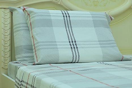 Goza toallas – juego 100% algodón Plaid Impreso peso pesado juego de sábanas Franela –