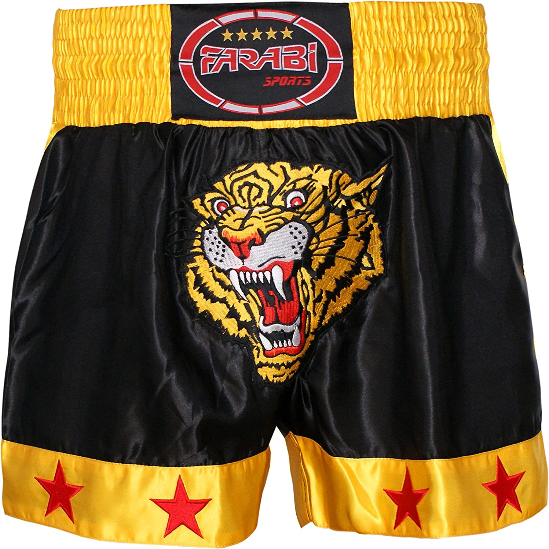 Muay Thai Shorts Kick Boxing Training Satin Black Gold Short Tiger Embroidery: Clothing