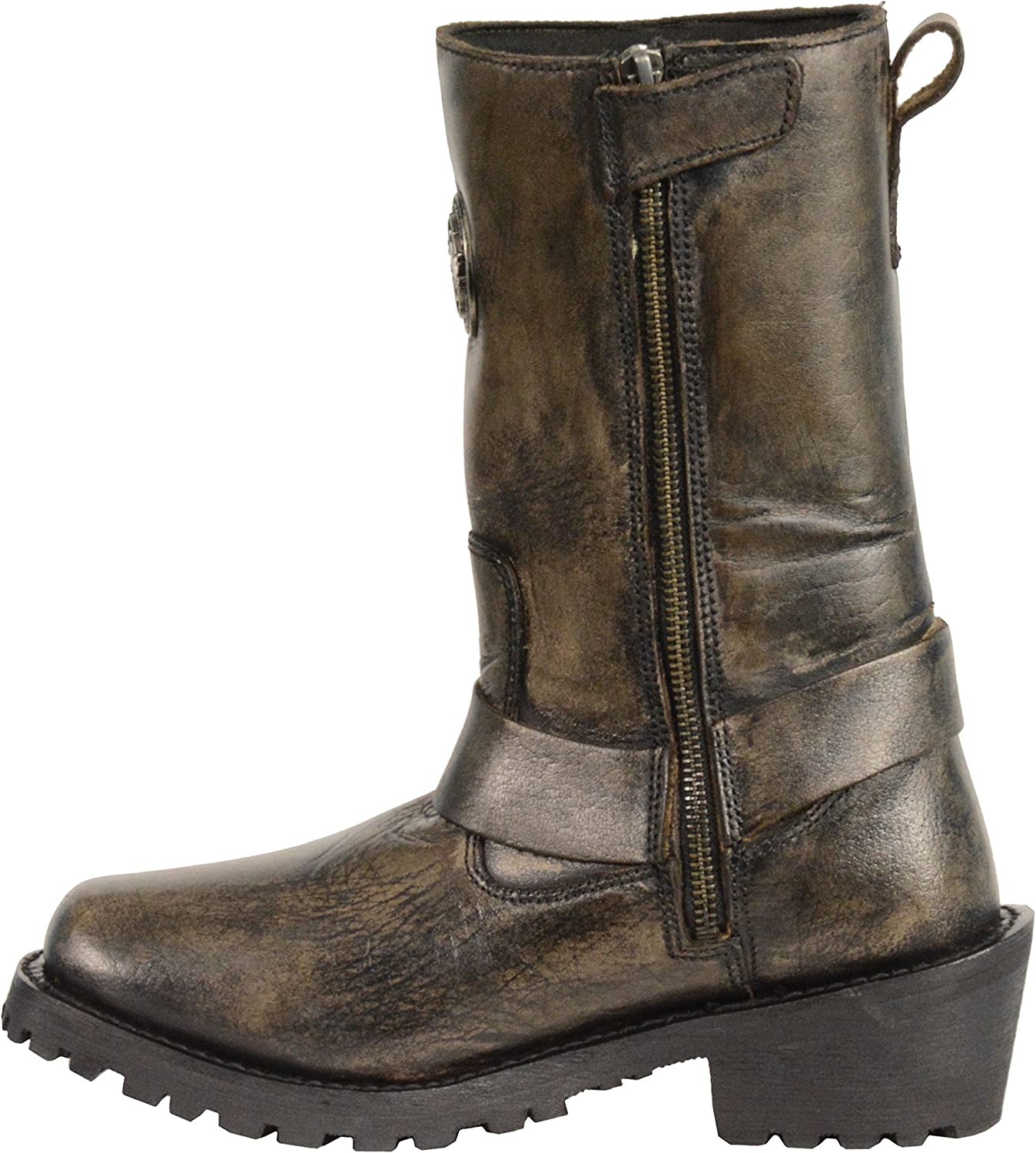 9 Milwaukee Leather MBL9362 Womens 11 Inch Distressed Grey Classic Harness Square Toe Leather Boots