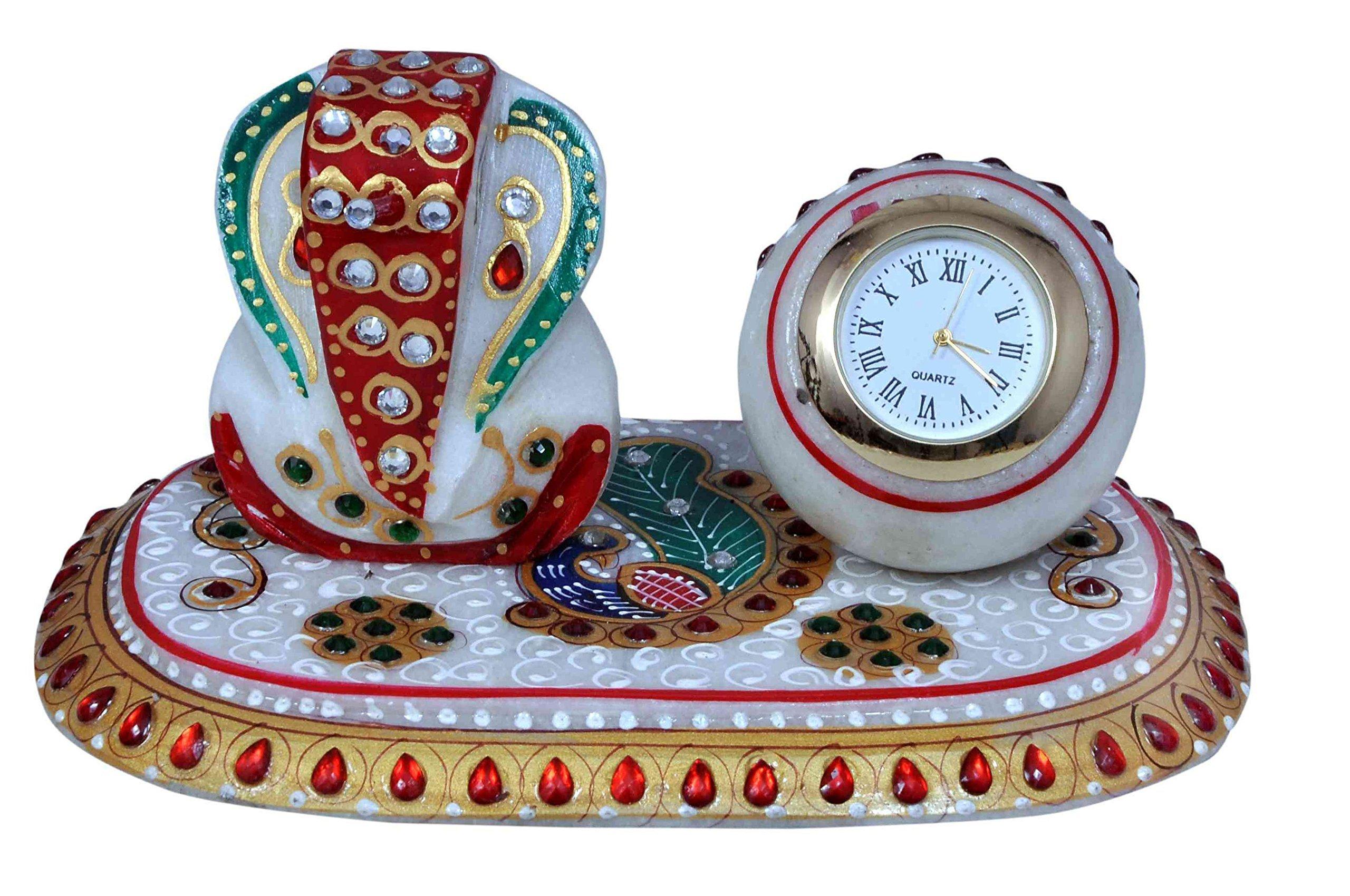 Craft Trade Antique Designer Analog Watch And Lord Ganesh Idol With Pawati 8.5x10 Multi Purpose Designer Analog Watch by Craft Trade