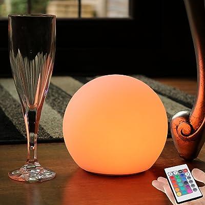 15cm Sphère Boule Lumineuse LED - Lampe Ronde RGB Multicolore Ambiance - Lumière Rechargeable + Télécommande de PK Green
