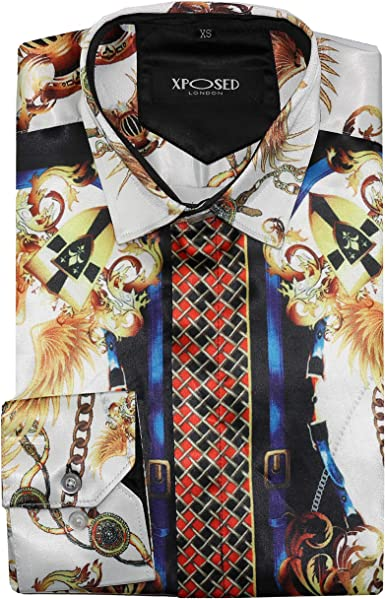Camisa de satén para hombre, estilo retro, diseño barroco, color dorado y blanco: Amazon.es: Ropa y accesorios