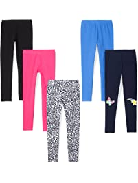 Amazon Brand - Spotted Zebra Girls' Toddler & Kids 5-Pack Leggings