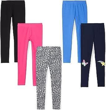 Spotted Zebra Amazon Brand Girls' Big Kid 5-Pack Leggings, Starburst, Medium (8)