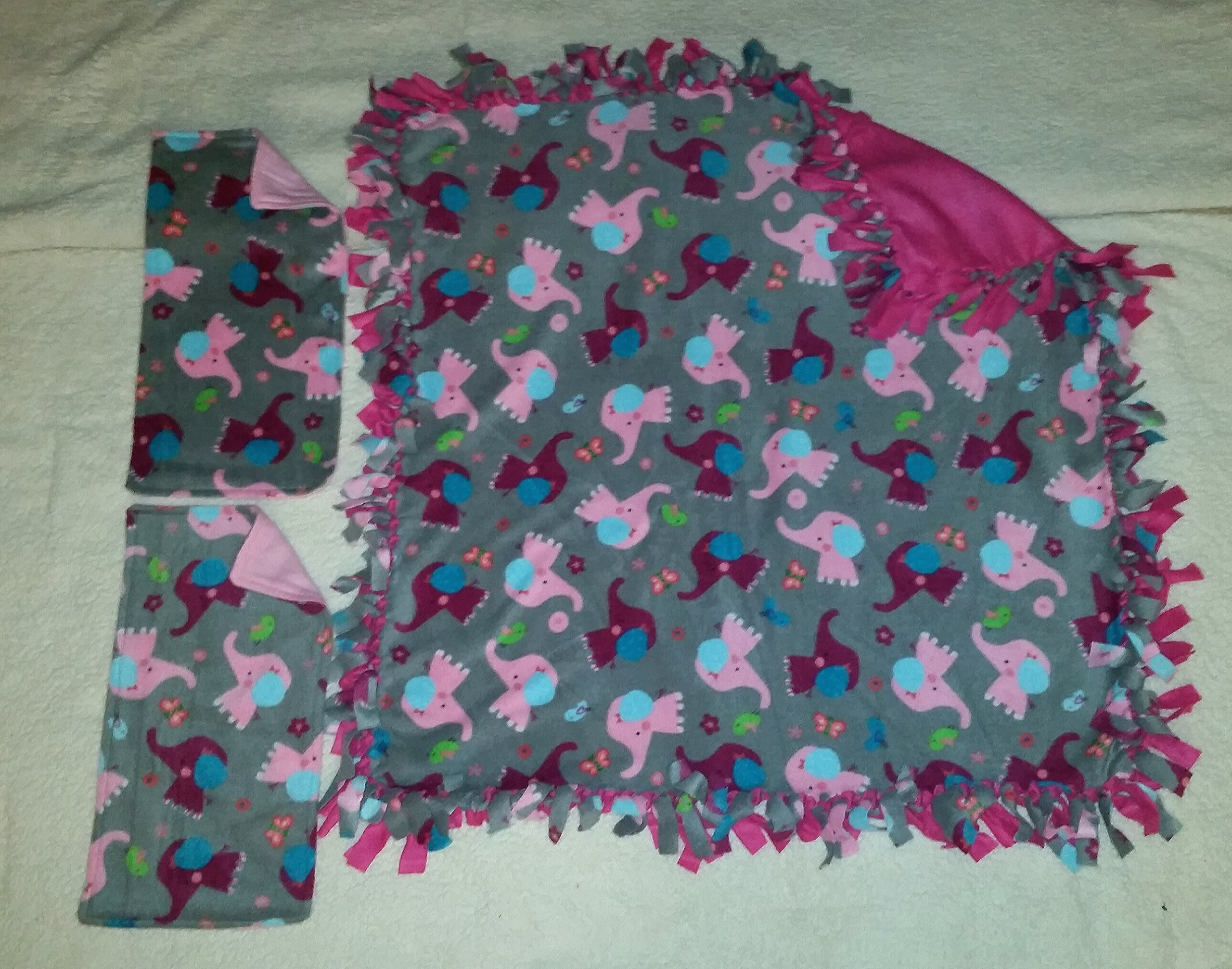 Handcrafted Fleece Elephant Blanket and Burp Rag Set by Country Snuggles (Image #1)