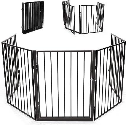 KIDUKU/® Barri/ère de s/écurit/é 300 cm grille de protection m/étal Parc pour enfants Parc /à b/éb/é Grillage S/écurit/é enfants noir