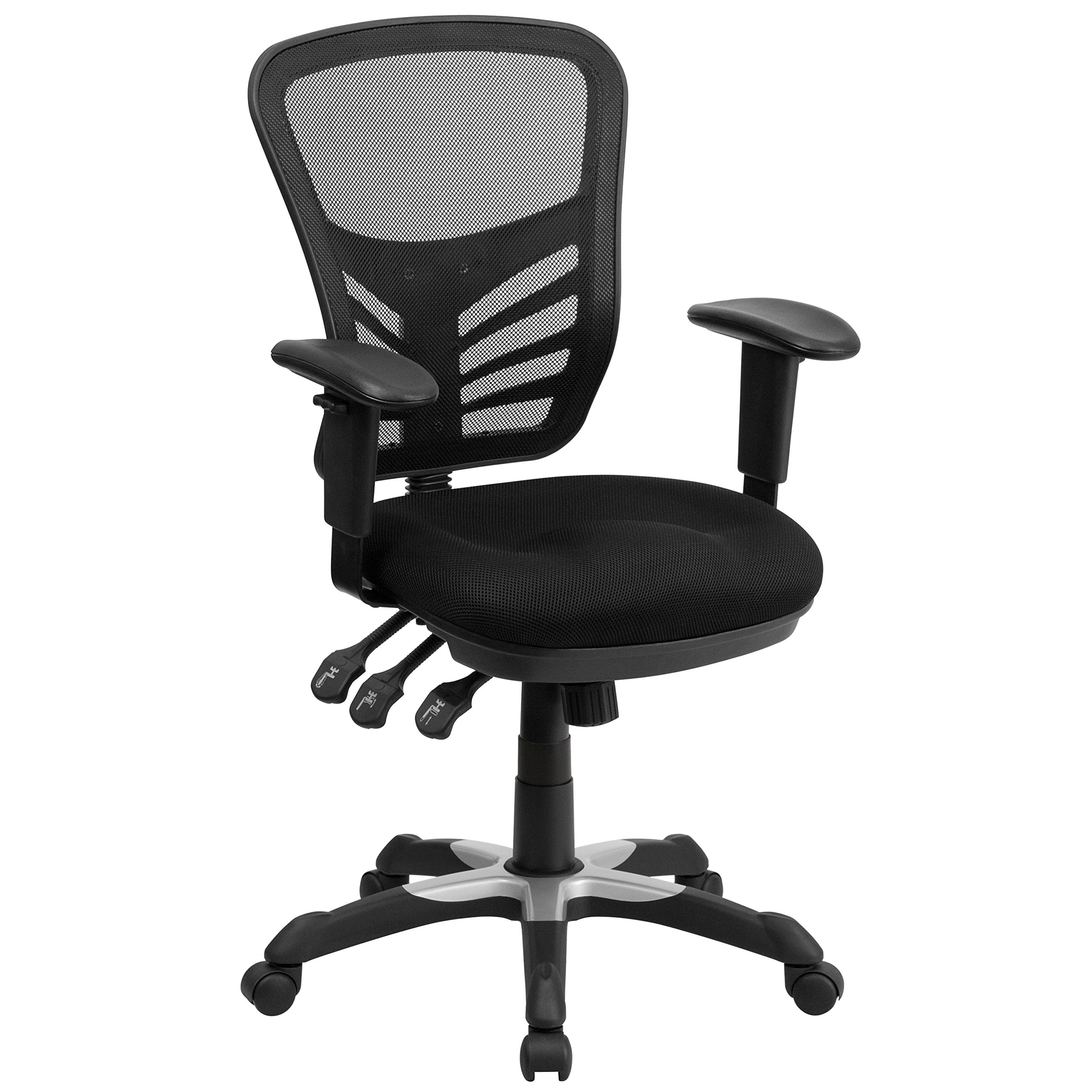Flash Furniture Mid-Back Black Mesh Multifunction Executive Swivel Chair with Adjustable Arms by Flash Furniture