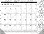 House of Doolittle 2019-2020 Monthly Desk Pad Calendar, Academic, Black and White Doodle, 18.5 X 13 Inches, August - July