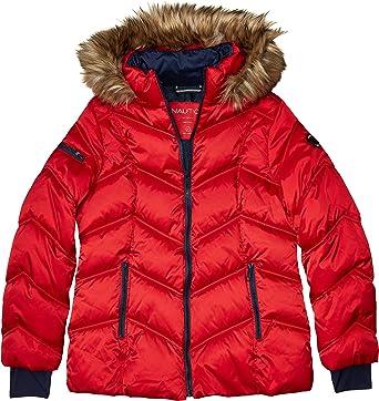 Nautica Womens Short Puffer Coat with Faux Fur Trim Hood