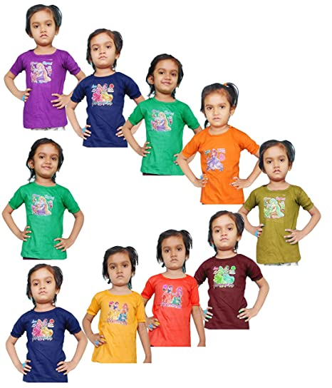 abf675711e0d Jisha Fashion Girls Cotton Top assorted color (Pack of 10)  Amazon ...