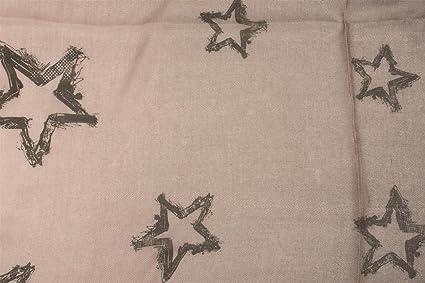 8624f0a6b7d6 styleBREAKER écharpe avec dégradé de couleurs et étoiles vintage All-Over,  franges sur les bords, tissu, femme 01016145, couleur Anthracite-Crème  ...