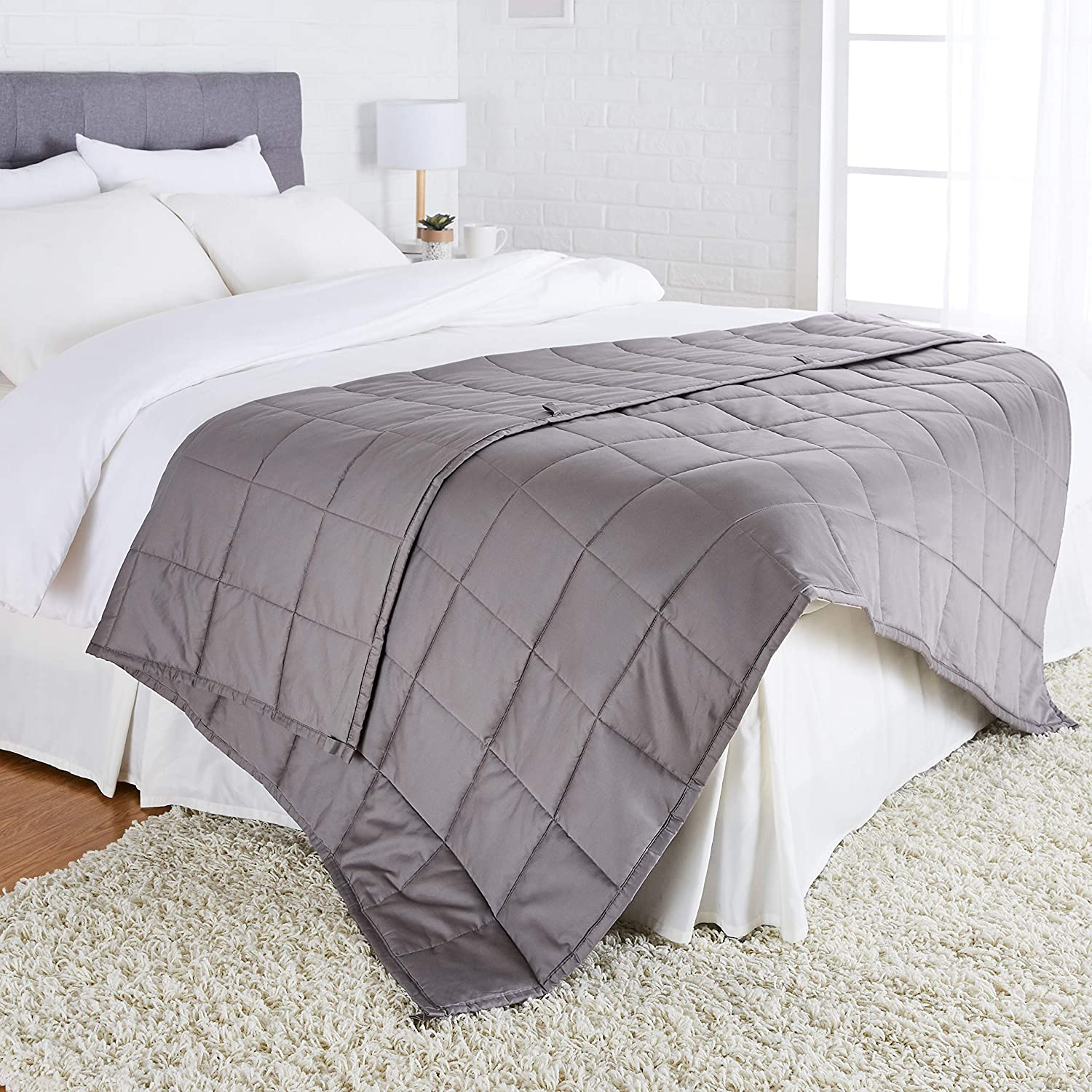"Basics All-Season Cotton Weighted Blanket - 15-Pound, 60"" x 80"" (Full/Queen), Dark Grey: Home & Kitchen"