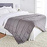 "Amazon Basics All-Season Cotton Weighted Blanket - 15-Pound, 60"" x 80"" (Full/Queen), Dark Gray"