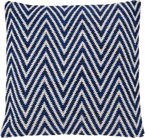 Shiraleah New York Square Chevron Pillow, 20 by 20 , Blue