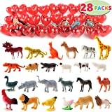 JOYIN 28 Pcs Animal Figures Filled Hearts with Valentine Cards for Kids Valentine Classroom Exchange Party Favors, Valentine Gift Exchange, Game Prizes and Carnivals Gift