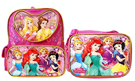 72e51253db76 Amazon.com: Disney Princess 12 inch Backpack and Lunch Box - Heart ...
