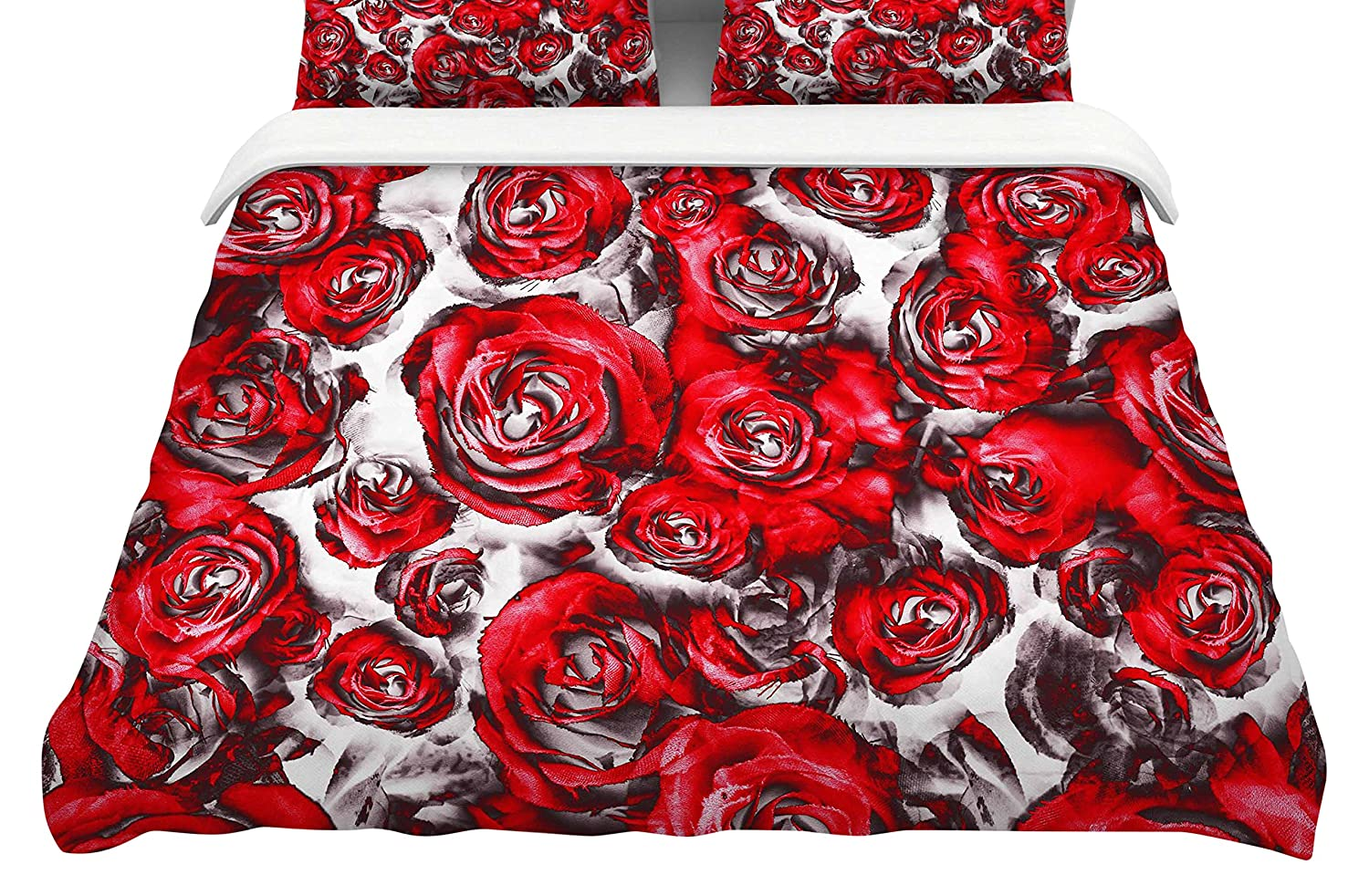 104 x 88 104 x 88 Kess InHouse Dawid ROC Red Roses Floral Abstract King Cotton Duvet Cover
