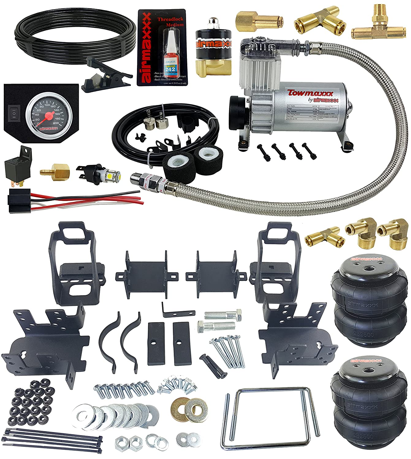 airmaxxx 1999-04 Ford F250 Air Over Load Tow Kit Compressor & Gauge