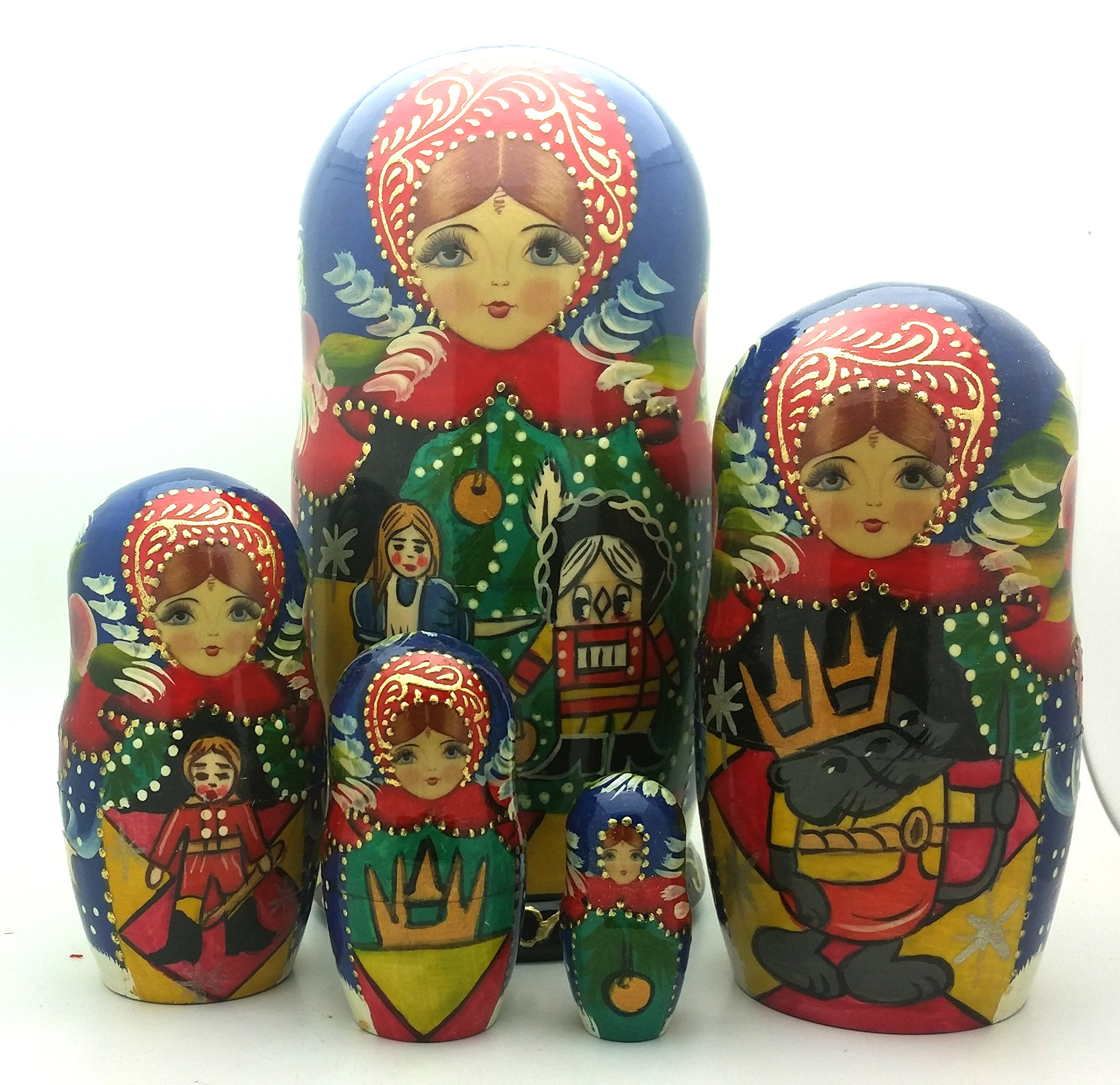 Nutcracker fairy tale Russian Hand Carved Hand Painted Nesting 5 piece DOLL Set 7'' tall / ballet by BuyRussianGifts (Image #1)