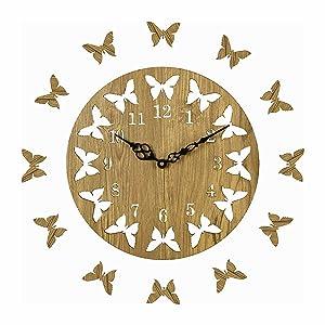 Sehaz Artworks Round Wooden Wall Clock (25.5 cm x 25.5 cm x 2.8 cm, Beige, SZA-PWC-12-Butterflies)